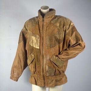 Vintage women's leather zip-up bomber jacket coat